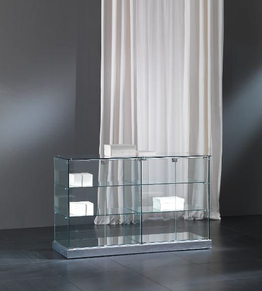 Designer Vitrine Vollglas / silber Black and white 140/B
