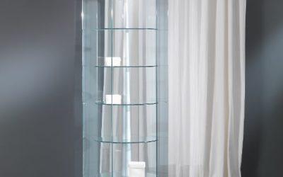 Designer Vitrine Vollglas / silber Black and white 7/G