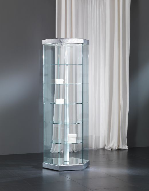 Designer Vitrine Vollglas / silber Black and white 7/G