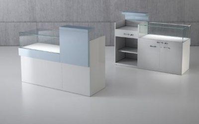 Shop Vitrine Quadratum Rahmen 1 x Art. QF/10B + 1 Art. Q/5BC – weiss hochglanz