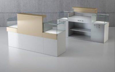 Shop Vitrine Quadratum Rahmen 1 x Art. Q/10B + 2 x Art. Q/5BC – weiss hochglanz