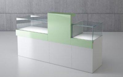 Shop Vitrine Quadratum Rahmen 1 x Art. Q/10B + 1 x Art. Q/5BC + 1 x Art. Q/5B weiss hochglanz