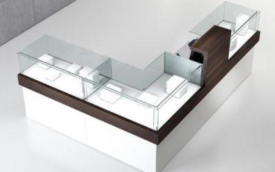Shop Vitrine Quadratum Rahmen 1 x Art. QF/10B + 1 x Art. QF/10BC + 1 x Art. QF/10BA + 1 x Art. QF/10B weiss hochglanz