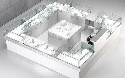 Shop Vitrine Quadratum Rahmen 4 x Art. QF/10BA + 2 x Art. QF/5B + 1 x Art. QF/10BC + 1 x Art. QF/5BS + 3 x Art. QF/10BS + 2 x Art. QF/10B + 1 x Art. QF/5P weiss hochglanz