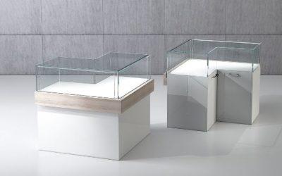 Shop Vitrine Quadratum Rahmen QF/10BA-weiss hochglanz