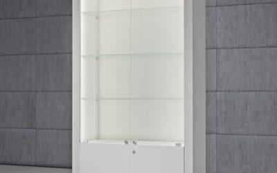 Shop Vitrine Quadratum Rahmen QF/SA-weiss hochglanz