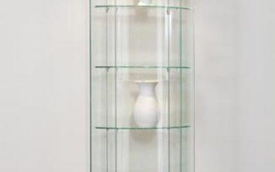 Runde Vitrine Truman 64 / RAL9006 Weißaluminium