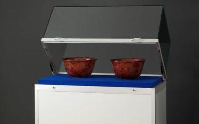 Museums-Vitrine Tech / silber eloxiert TGV – 1000 – 450 – silber mit Sockel und Gasdruckfedern