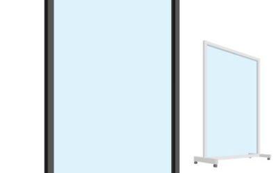 Viren Arbeitsplatzschutz Trennwand mit Aluminium Profil auf Rollen